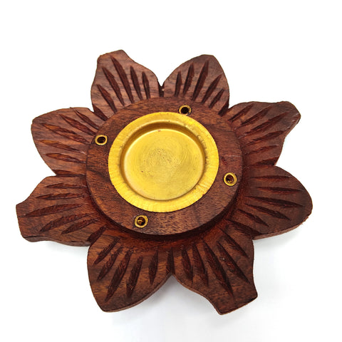 Natural Wooden Lotus Plate Handcrafted Incense Holder Stick and Cone Incense 4""