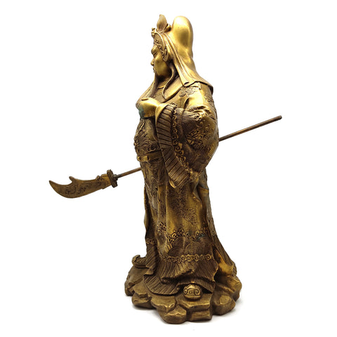 China Brass Dragon Guangong Guan Gong Yu Warrior God Holding Knife Statue 15""
