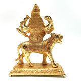 India Goddess Mother Mata Durga Handcrafted Gold-Plated Idol Durga Statue 5.5""