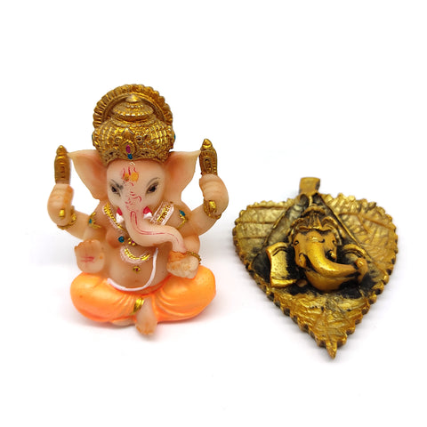 Set Ganesh Ganapati Hindu Elephant God Figurine Statue and Ganapati on Leaf - 2