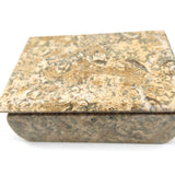 "Large Polished Stone Coral Trinket Keepsake Jewelry Box -Handcrafted 6.25"" Long"