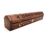 Stick Cone Incense Burner Box With Storage - Moon Sun Stars Brass Inlays 12.25""