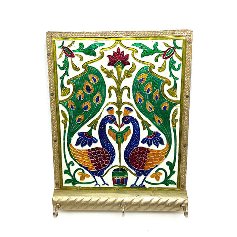 Meenakari Peacocks Design Decorative Wall Mount Hanging Key Holder India 6.5""