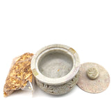 "Soapstone Scrying Smudging Bowl Pot Burner 4.5"" W/Palo Santo Raw Incense Chips"