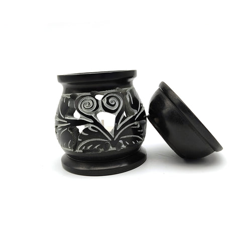 Decorative Black Oil Diffuser Soapstone Handcarved Oil Warmer Burner India 3.5""