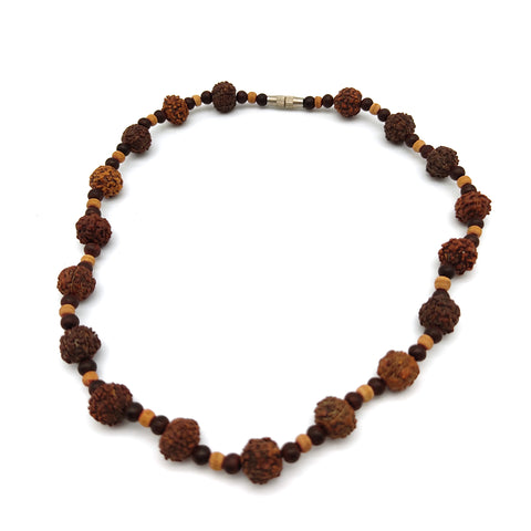 Lovely Necklace Rudraksha Tulsi Rosewood Natural Beads Auspicious Necklace 7.5""