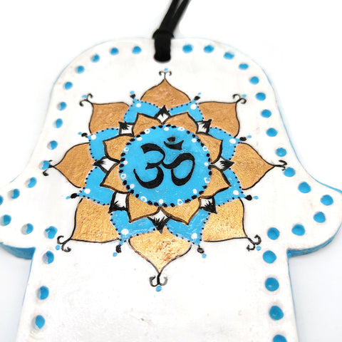 "Om Aum Hamsa Blessing for Home Good Luck Wall Decor Made in Israel 4.75"" High"