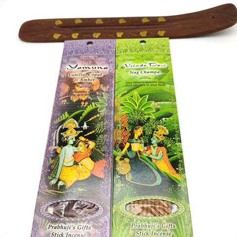 Ornate Wooden Decorative Incense Holder With 2 Packs Amazing Incense 20 Sticks