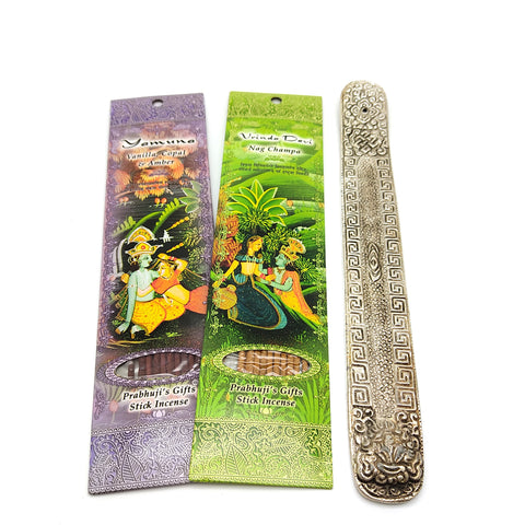 Ornate Metal Incense Burner Decorative W/2 Packs Best Selling Incense 20 Sticks