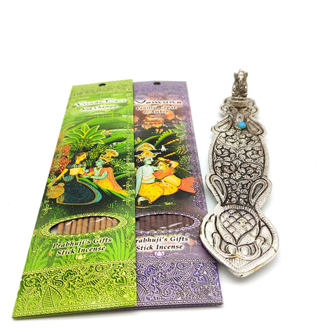 Ornate Metal Ganapati Burner Decorative W/2 Packs Best Selling Incense 20 Sticks
