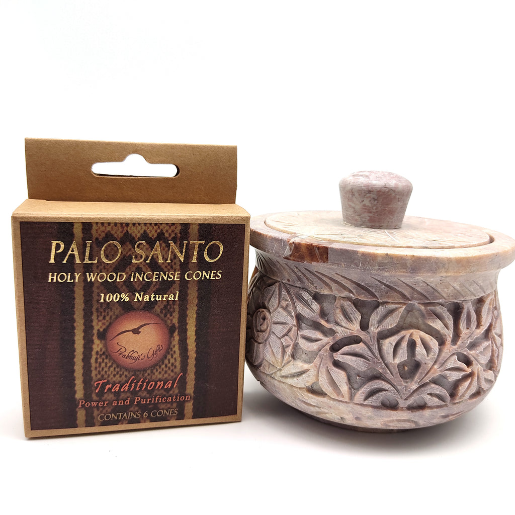 Soapstone Scrying Smudging Bowl Burner W/Palo Santo Traditional Cone Incense 4""