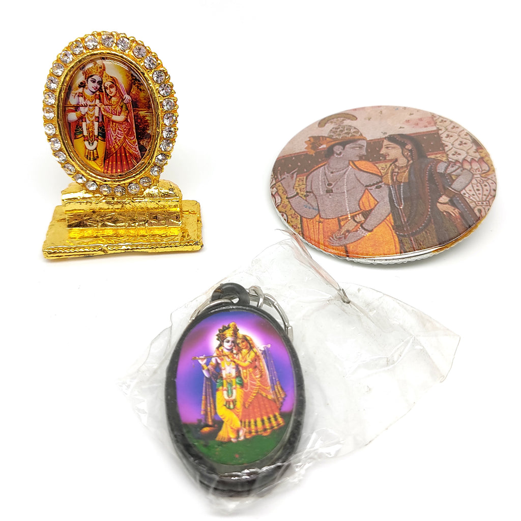 Devotional Set Radha-Krishna India Divine Couple Gods in Key-chain Shrine Image