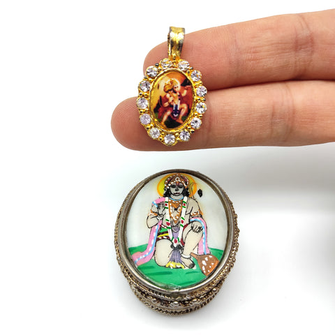 India Hand-painted Hanuman Silver Decorative Box W/ Small Pendant Inside Set