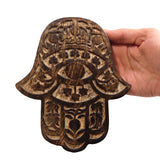Hamsa Wall Hanging Wood Khamsah Amulet Hand of Fatima Home Decor Blessing