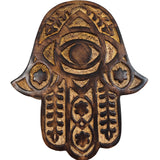 Hamsa Wall Hanging All Wooden Khamsah Amulet Hand of Fatima Home Decor - Myrtle