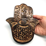 Hamsa Wall Hanging Wood Khamsah Amulet Hand of Fatima Blessing - Swirl Wave