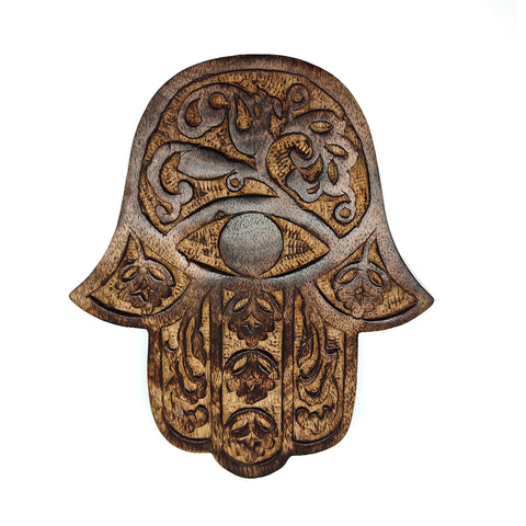Hamsa Wall Hanging Wood Khamsah Amulet Hand of Fatima Decor Cherry Blossom