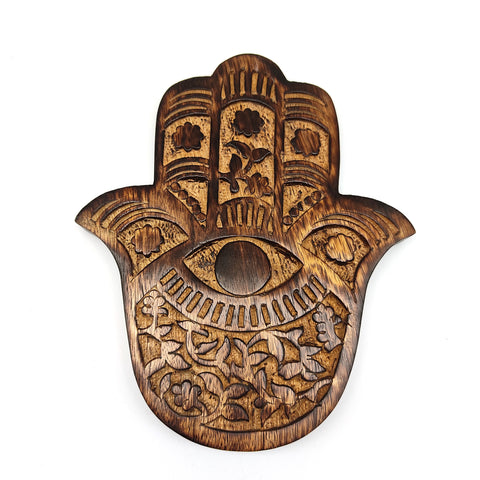 Hamsa Wall Hanging Wooden Khamsah Amulet Hand of Fatima Decor Vines-Flowers