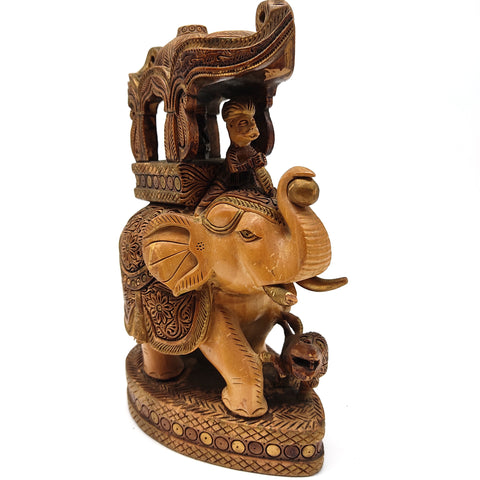 Vintage Elephant Ambari Wooden Statue Handmade India Decorative Figurine 8.5""