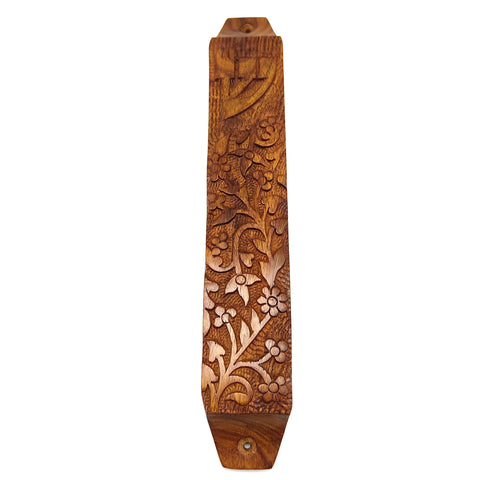 Home Blessing Jewish All Wooden Mezuzah Case Handcrafted Garden Design 9""