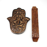 Jewish Home Blessing Gift Set Wooden Handcrafted Mezuzah and Hamsa Khamsah