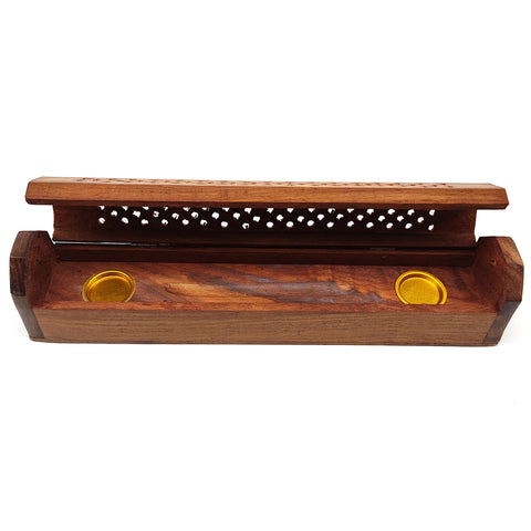 Handcrafted India Incense Burner Wooden Box E/Storage Decorative Jali Cover 12""