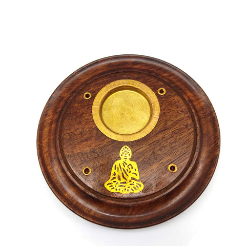Buddha Handmade Incense Burner For Sticks and Cones Wooden Round Plate  4""