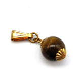 Elegant Round Tiger Eye Bead Pendant Jewelry With Golden Caps Handcrafted 1.5""