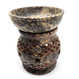 Amazing Stars Oil Warmer Burner Diffuser India Hand-carved Dark Soapstone 4.5""