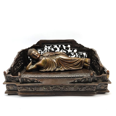"Copper Reclining Sleeping Shakyamuni Buddha Chinese Buddhism Statue 14.5"" Long"