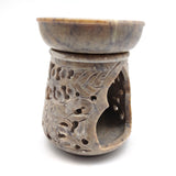 "Soapstone Oil Diffuser Oil Burner Candle Holder Hand-carved India Elephant 4.5"" Tall"