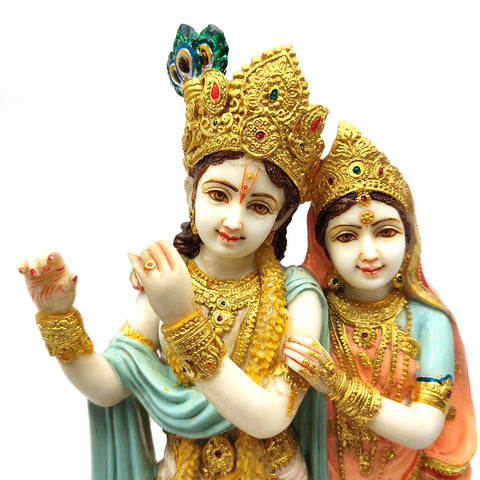 "Radha-Krishna Embracing India Gods Marble Dust Hand-painted Statue Murti 15.5"" Tall"