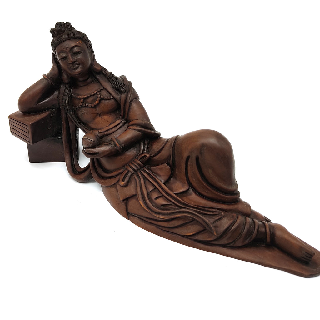 "Wood Reclining Sleeping Shakyamuni Buddha Chinese Buddhism Statue 10.5"" Long"