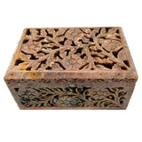 Soapstone Jewelry Trinket Keepsake Box Carved Decorative Jali India Handcrafted 6""