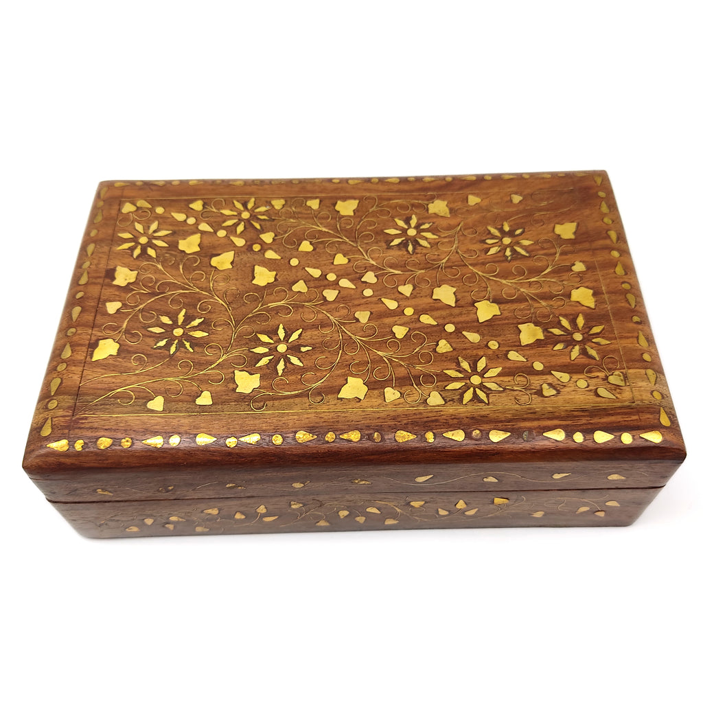 "Wood Jewelry Trinket Box Decorative Brass Inlays Keepsake Home Decor Box 8"" Long"