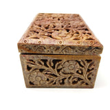 Floral Carved Box Soapstone Jewelry Trinket Keepsake Box Decorative India Jali Box 6""