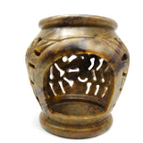 Dark Oil Diffuser Oil Warmer Burner Soapstone Hand-carved Leaf Flower Design 4.5""