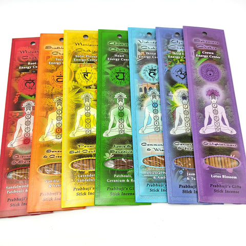 Chakra Stick Incense Set Full Chakra Incense Line 7 Incense Packs W/Buddha Wood Burner