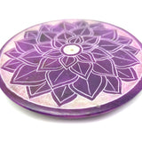 Sahasrara Chakra Soapstone Plate Incense Burner W/ 10 Lotus Vanilla Rose Sticks