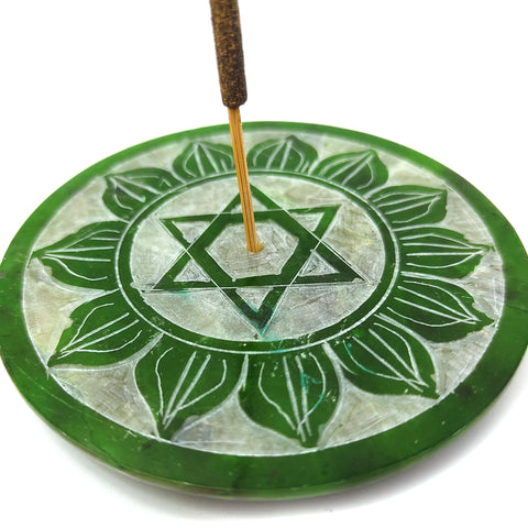 Anahata Chakra Soapstone Plate Incense Burner W/ 10 Patchouli Geranium Rose Sticks