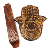 Wooden Mezuzah and Hamsa Jewish Home Blessing Gift Set Handcrafted Khamsah