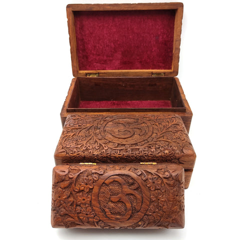 Om 3-piece Hand-carved Decorative Wooden Jewelry Trinket Box Organizer Set