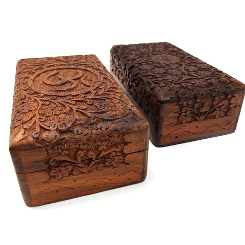 Hand-carved Decorative Om Flowers Wooden Jewelry Trinket Box Organizer Set of 2