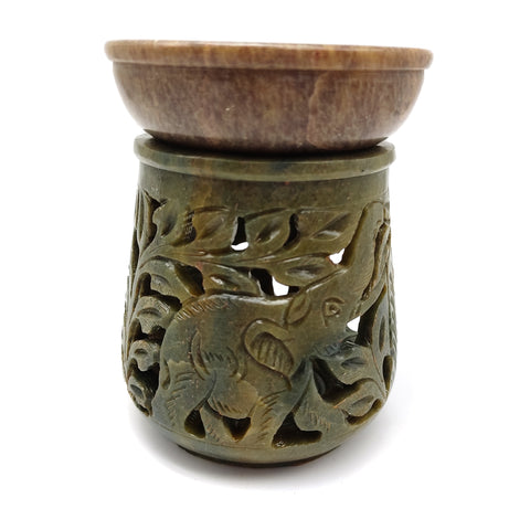 "Oil Diffuser Oil Burner Candle Holder Soapstone Hand-carved India Elephant 4.5"" Tall"