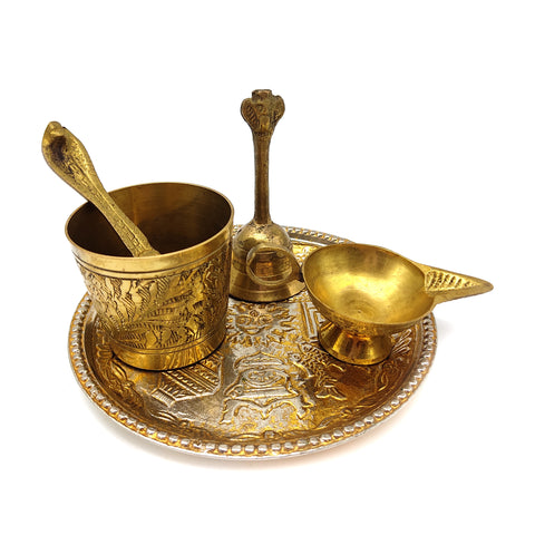 Puja Pooja Thali Religious Devotional Worship Offering Set - Brass Diya Ghanti Spoon