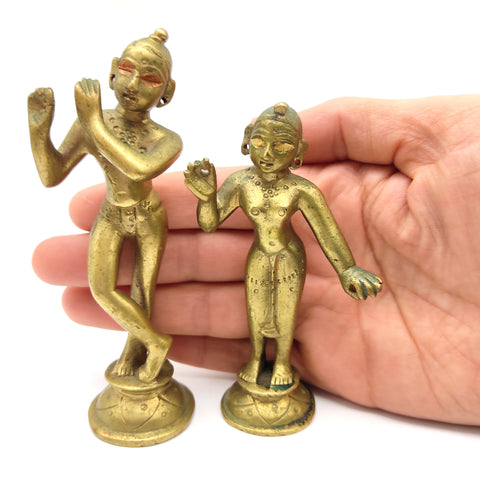 Antique Brass India Gods Sri Radha-Krishna On Lotus Deities Statue Murti Idols Set