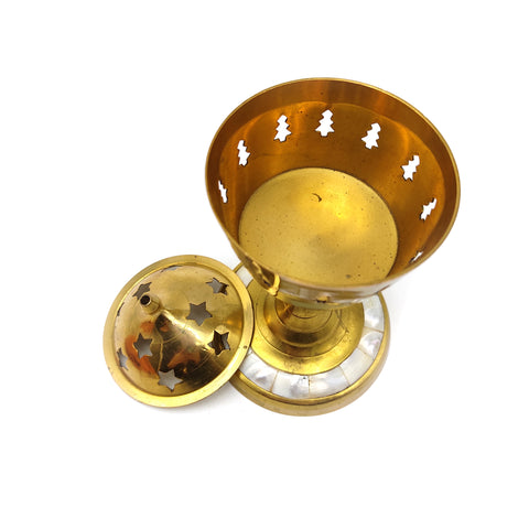 Brass Mother of Pearl Censer Burner For Charcoal Incense Resin Cones Handmade  7.5""
