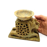 3 Piece Hand-Carved Natural India Soapstone Elephant Oil Burner Oil Diffuser 5.5""
