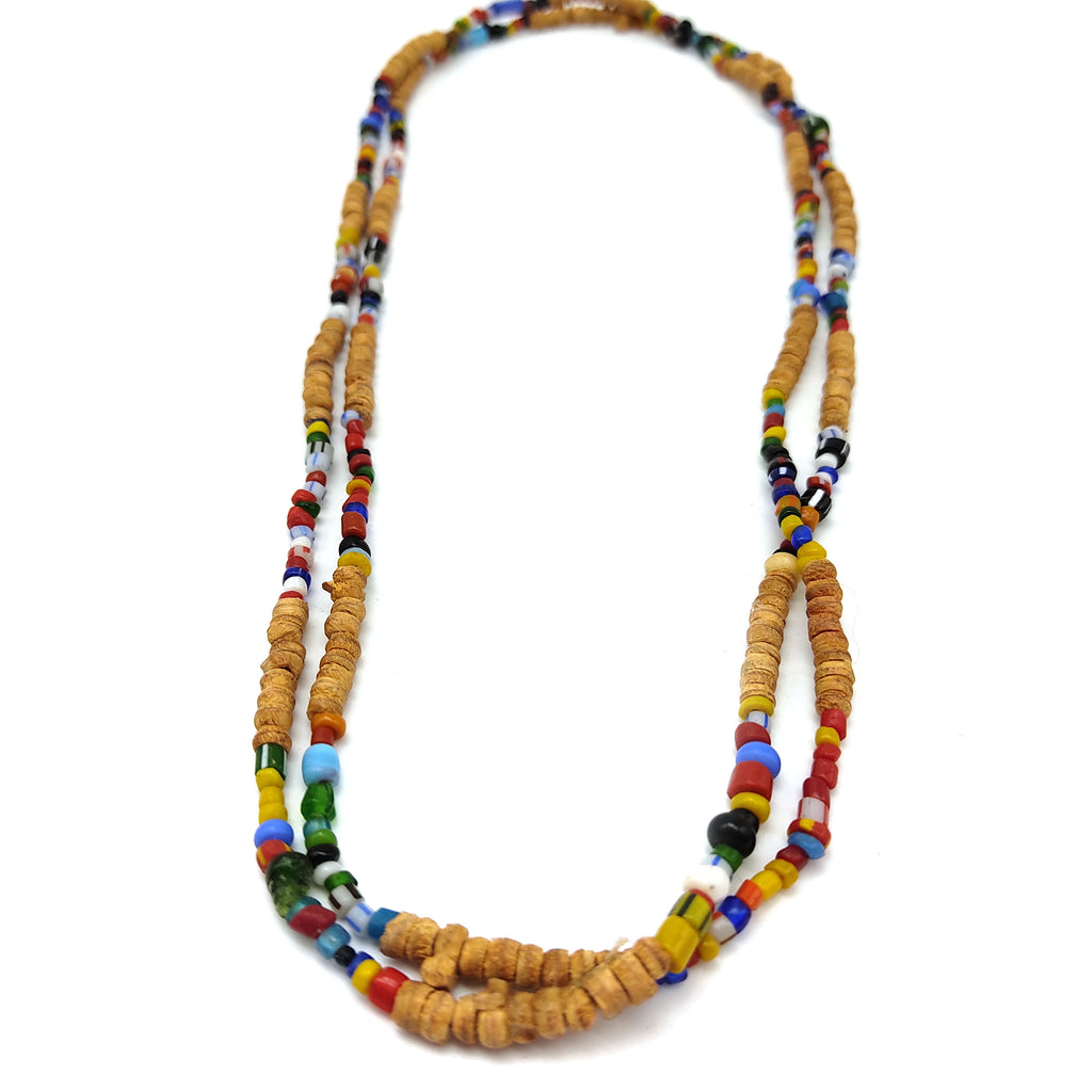 India Necklace Tulasi Tulsi Handcrafted Beads Necklace W/glass Colorful Beads 24.5""
