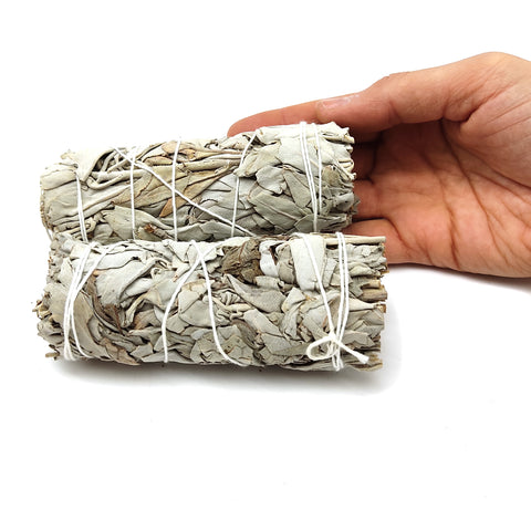 Smudging Herbs Kit - 2 White Sage Stick Bundles and 1 Braid of Sweet Grass Sage